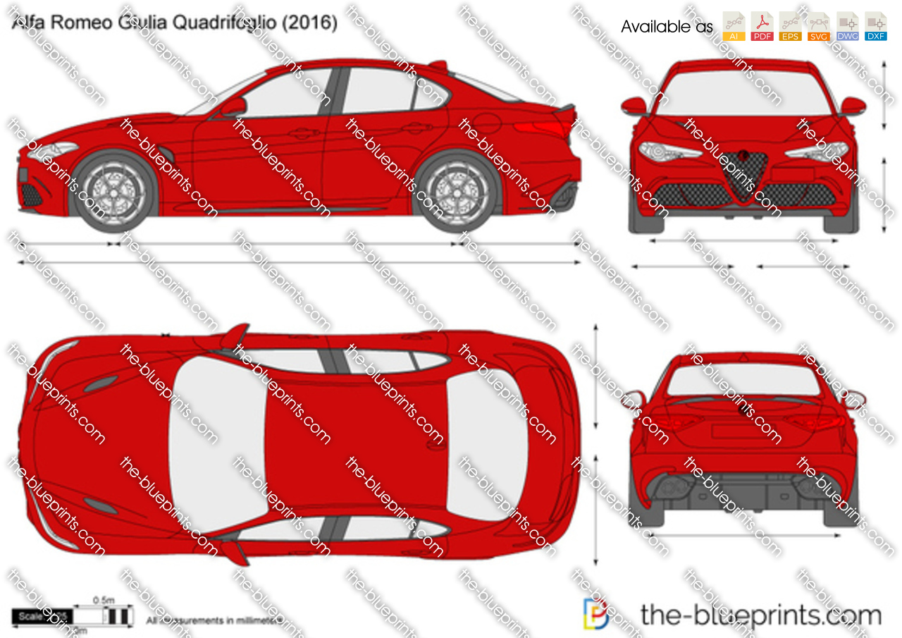 alfa romeo giulia quadrifoglio vector drawing. Black Bedroom Furniture Sets. Home Design Ideas