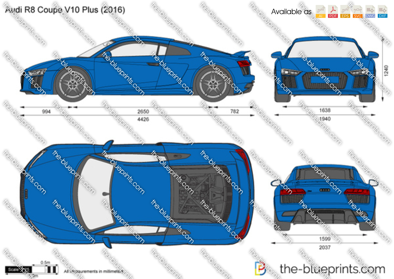 Audi R8 Coupe V10 Plus Vector Drawing