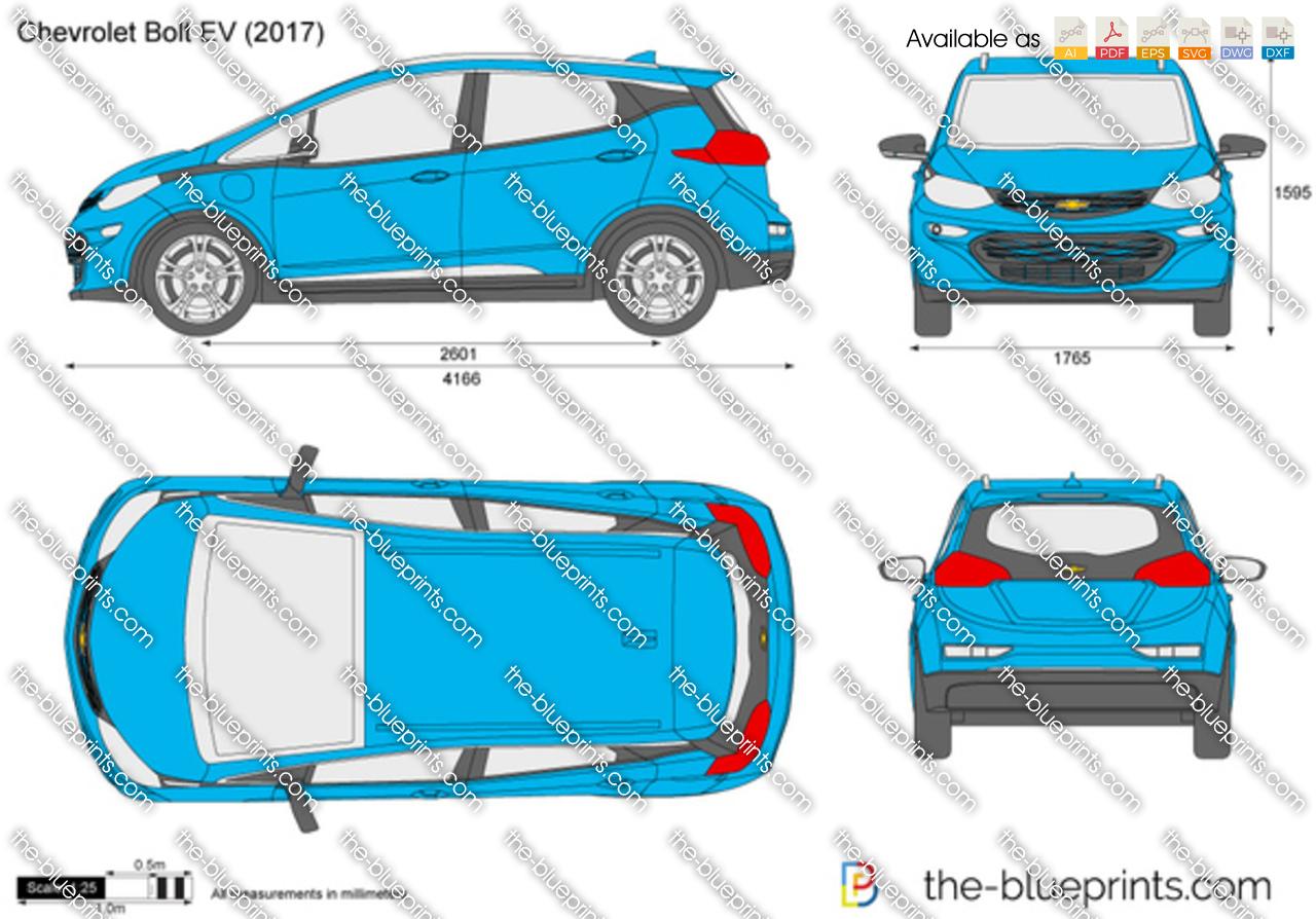 Online Blueprints Chevrolet Bolt Ev Vector Drawing