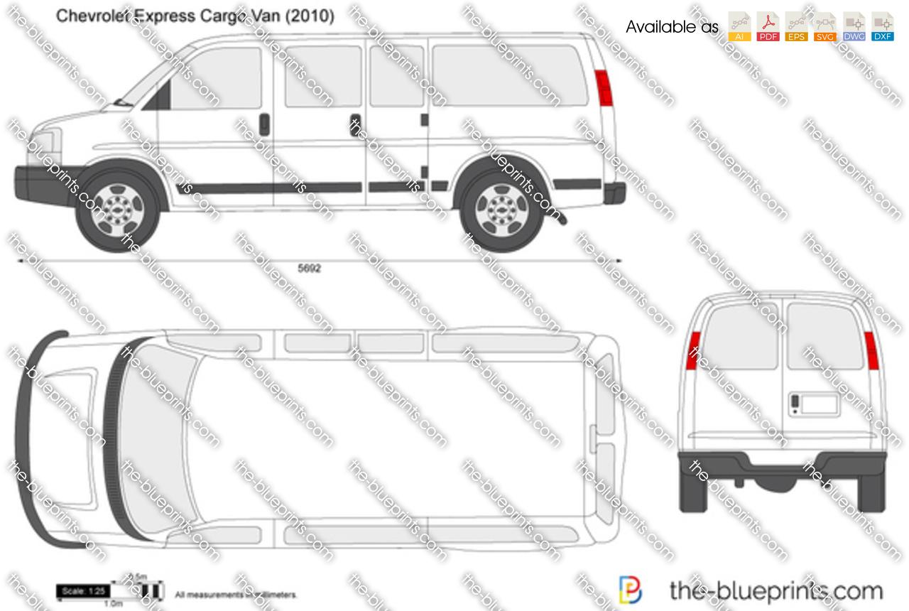 Chevrolet Express Cargo Van Vector Drawing