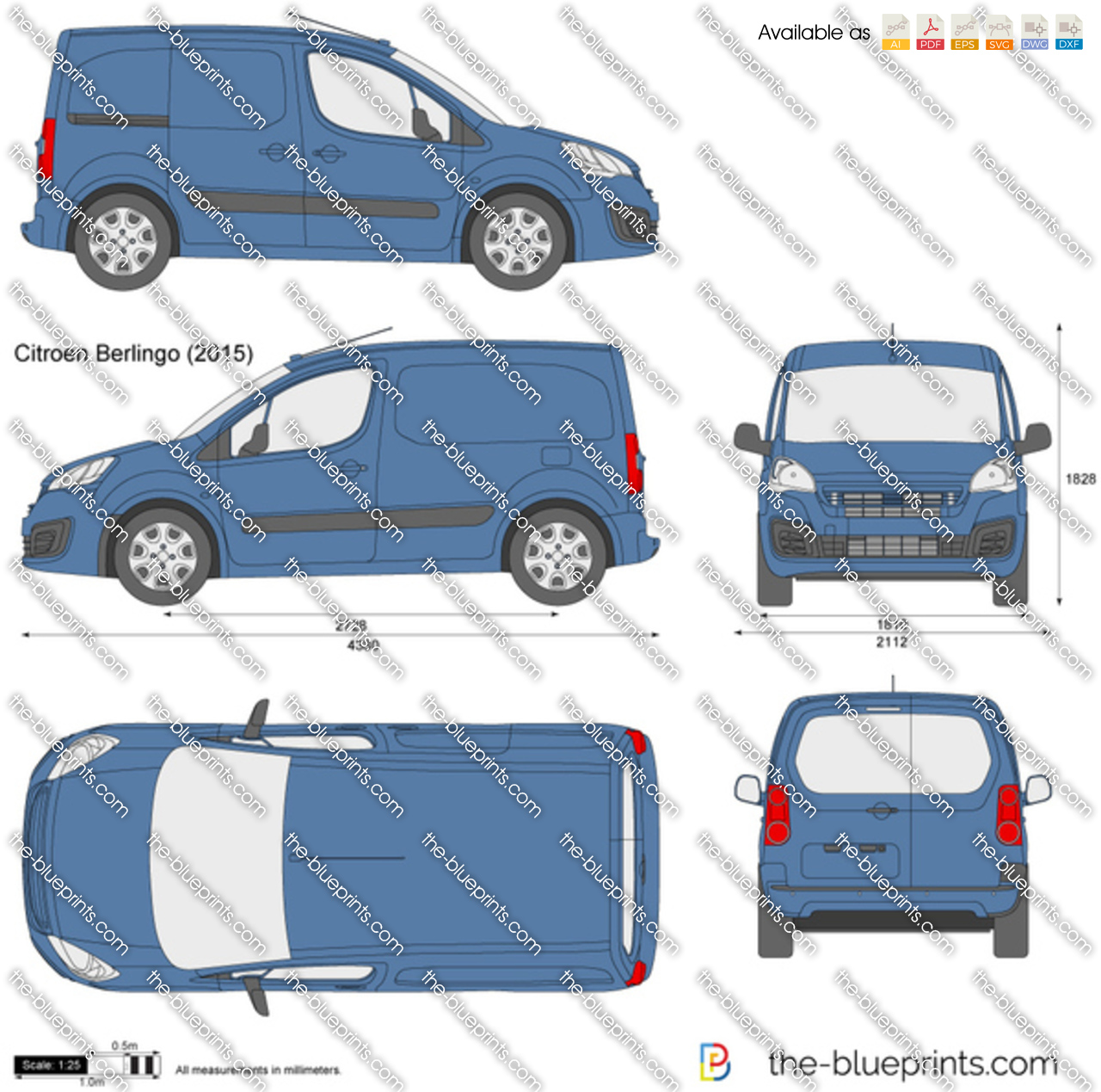 citroen berlingo vector drawing. Black Bedroom Furniture Sets. Home Design Ideas