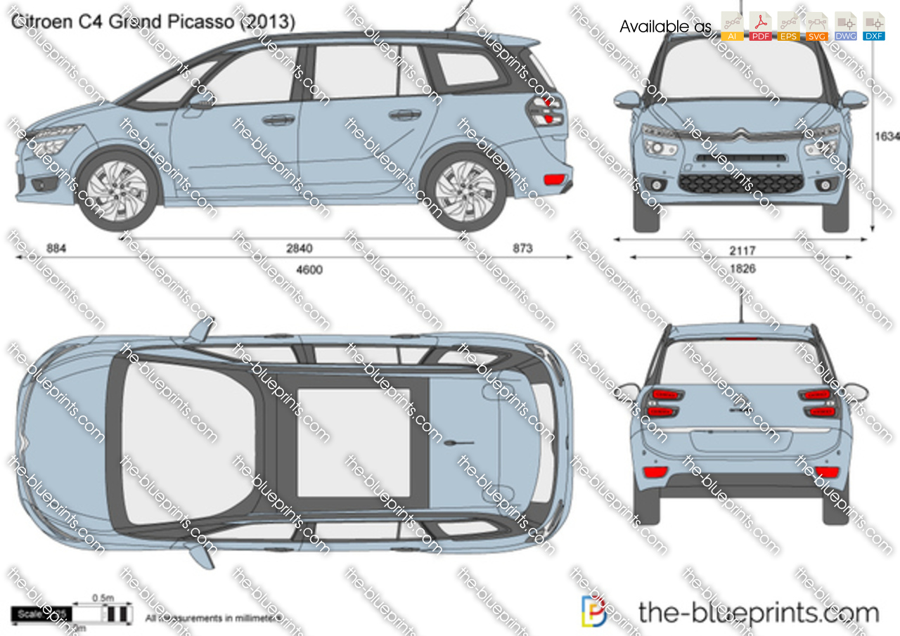 citroen c4 grand picasso vector drawing. Black Bedroom Furniture Sets. Home Design Ideas
