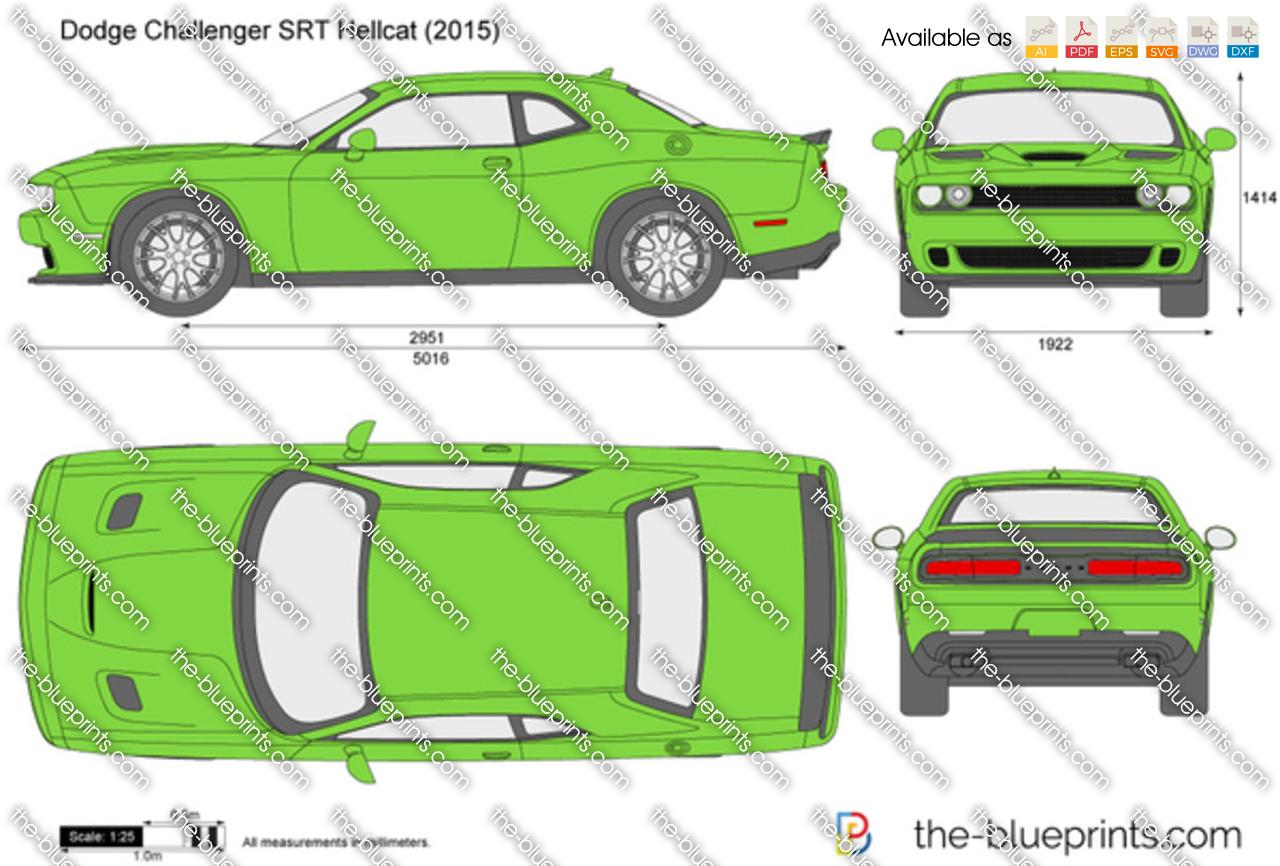 Dodge Challenger SRT Hellcat vector drawing