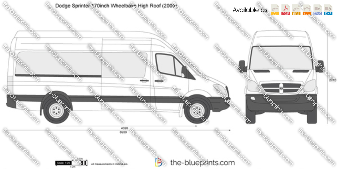 Dodge Sprinter 170inch Wheelbase High Roof Vector Drawing