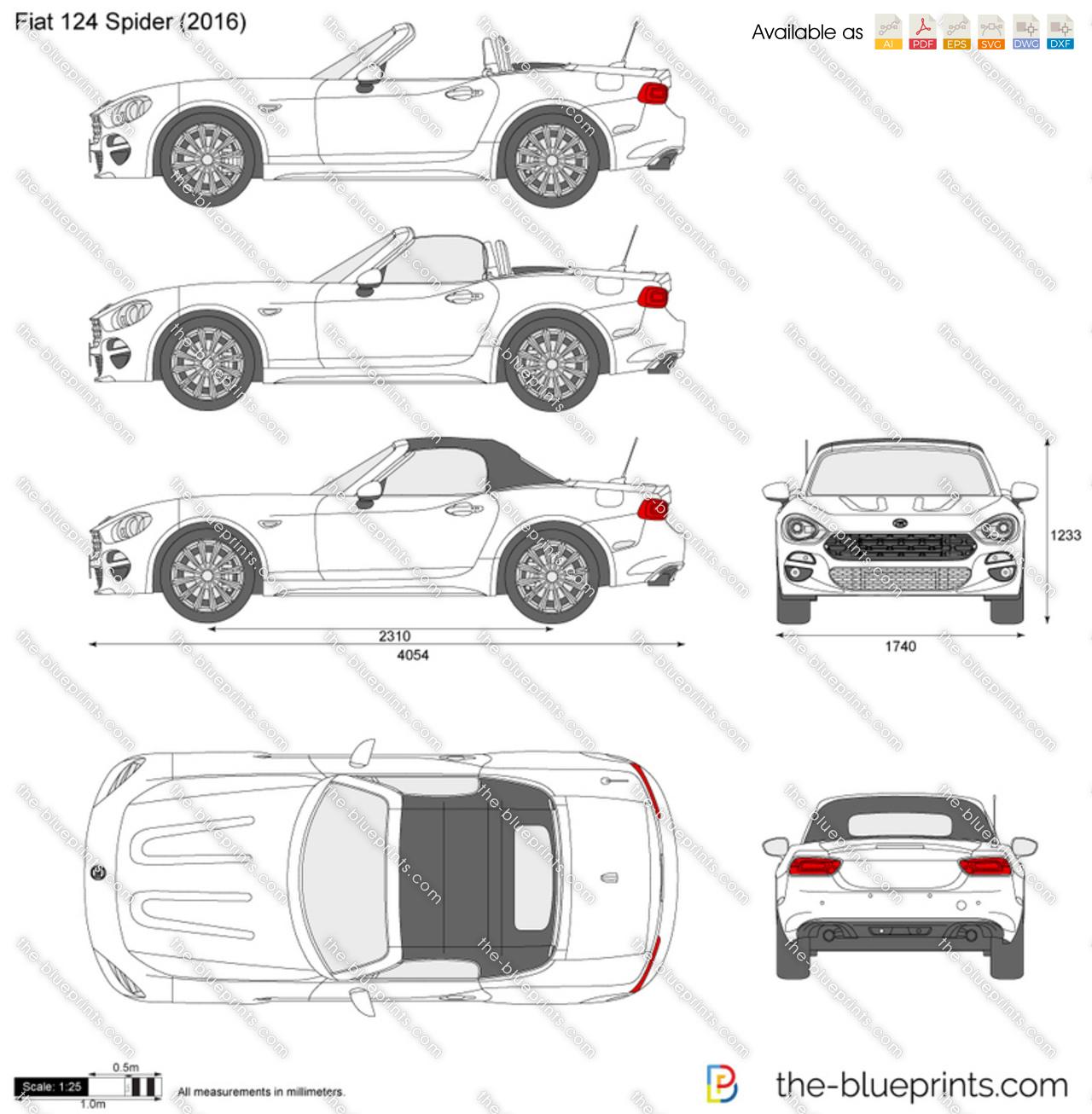 The Blueprints Com Vector Drawing Fiat 124 Spider