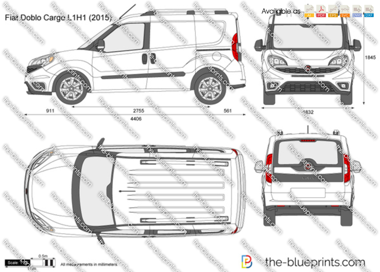 fiat doblo cargo l1h1 vector drawing. Black Bedroom Furniture Sets. Home Design Ideas