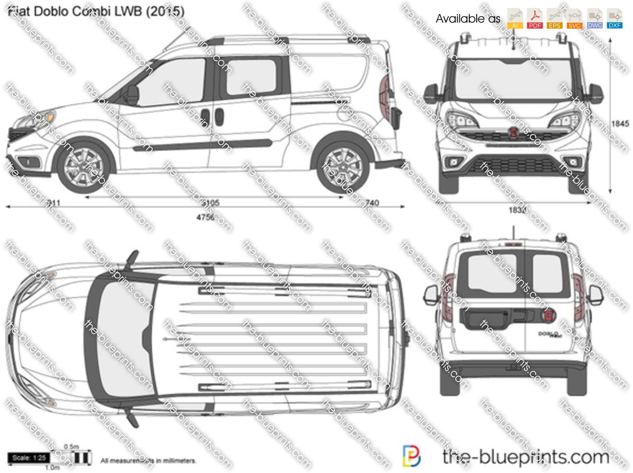 the-blueprints - vector drawing - fiat doblo lwb combi maxi