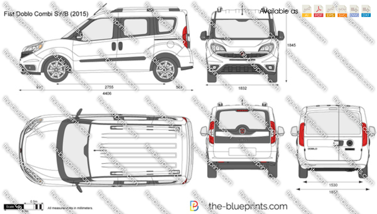 Fiat Doblo SWB Combi vector drawing