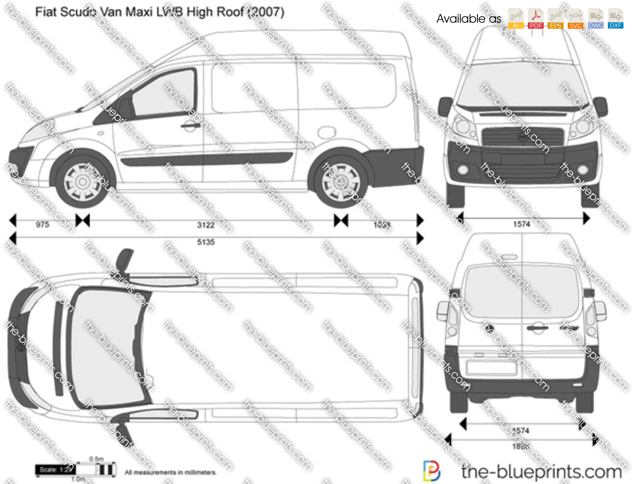 fiat scudo van maxi lwb high roof vector drawing. Black Bedroom Furniture Sets. Home Design Ideas