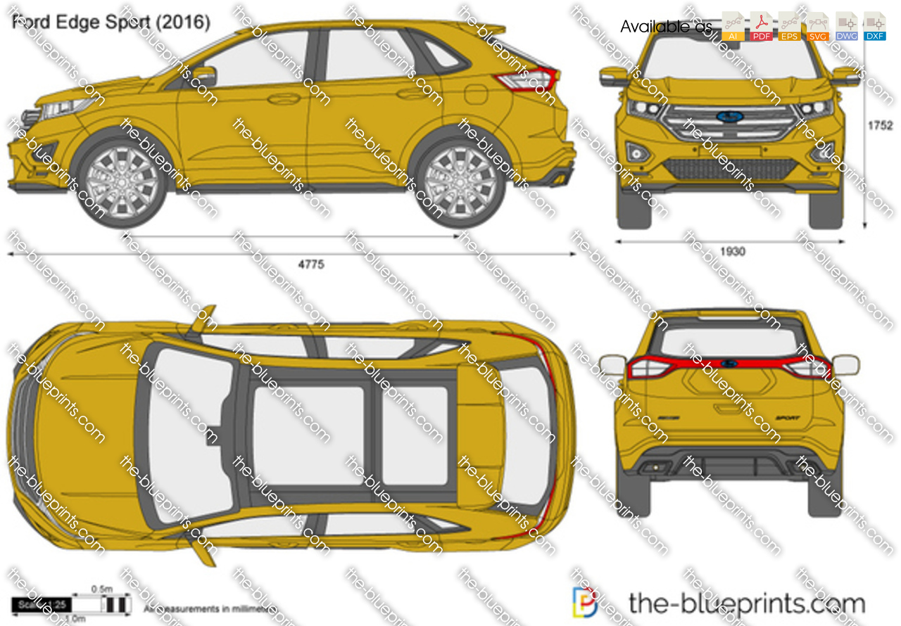 Ford Edge Dimensions >> Ford Edge Sport Vector Drawing