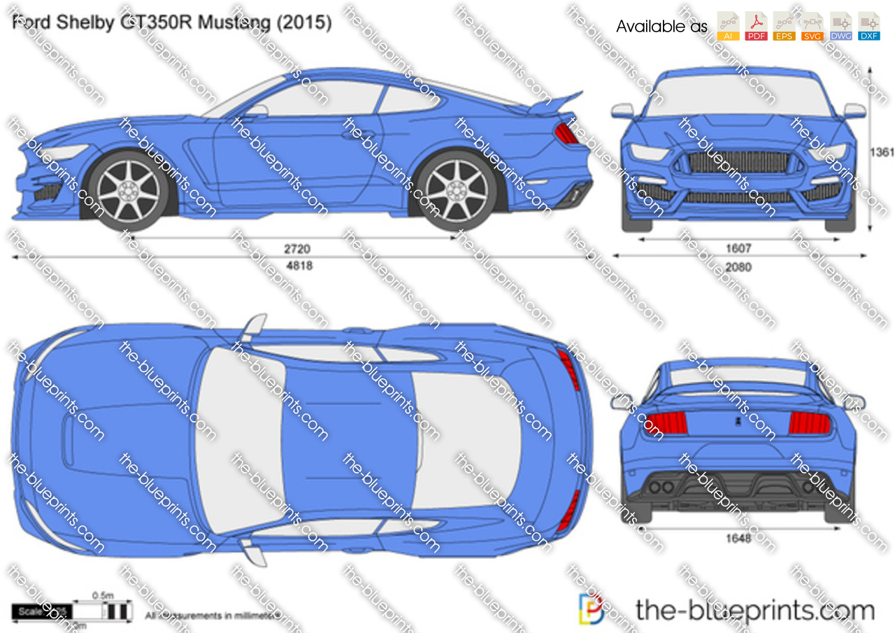 The-Blueprints.com - Vector Drawing - Ford Shelby GT350R Mustang