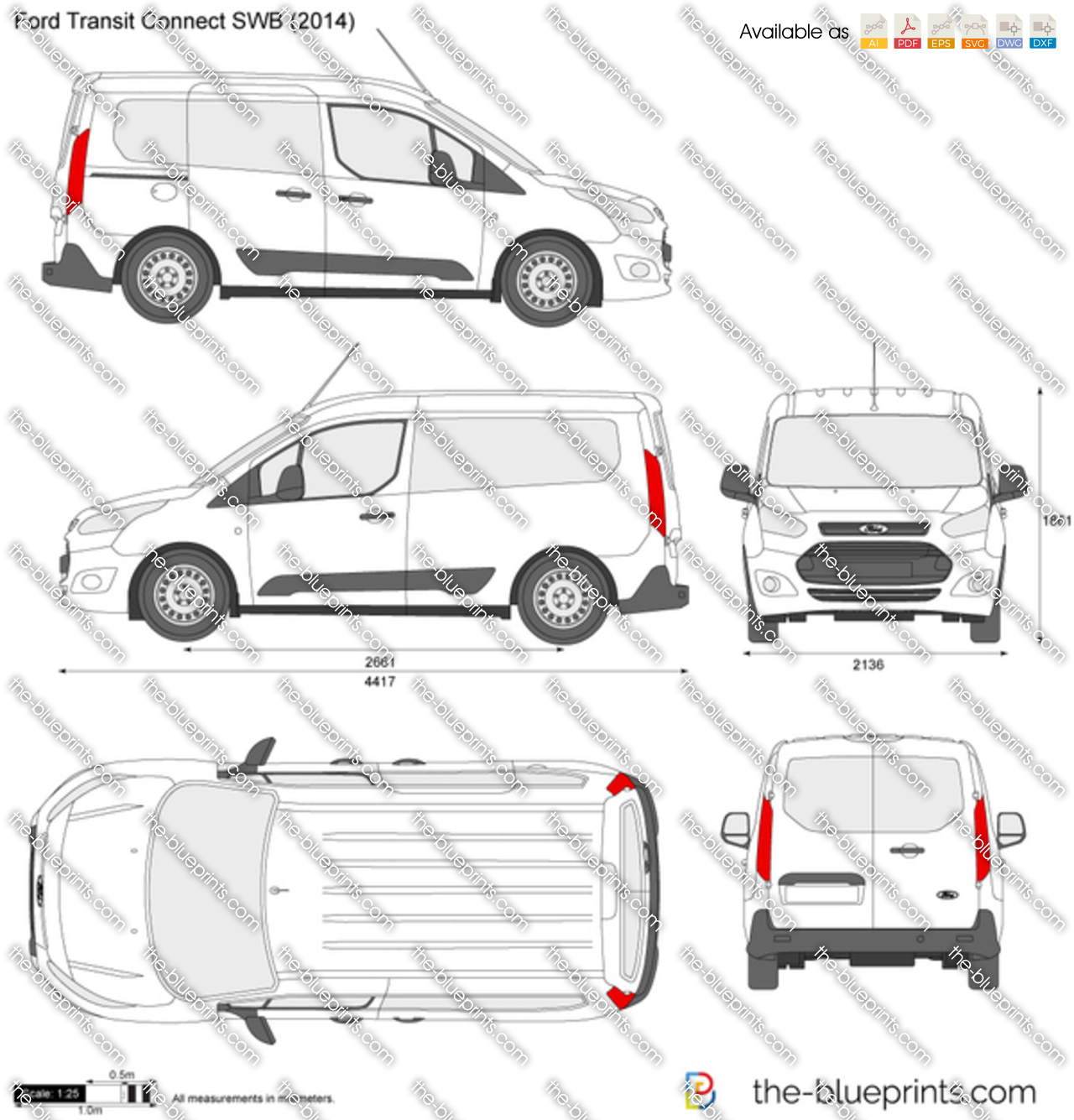ford transit connect swb vector drawing. Black Bedroom Furniture Sets. Home Design Ideas