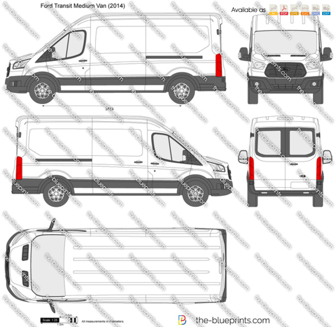 Ford Transit Minibus Medium Roof Lwb Vector Drawing