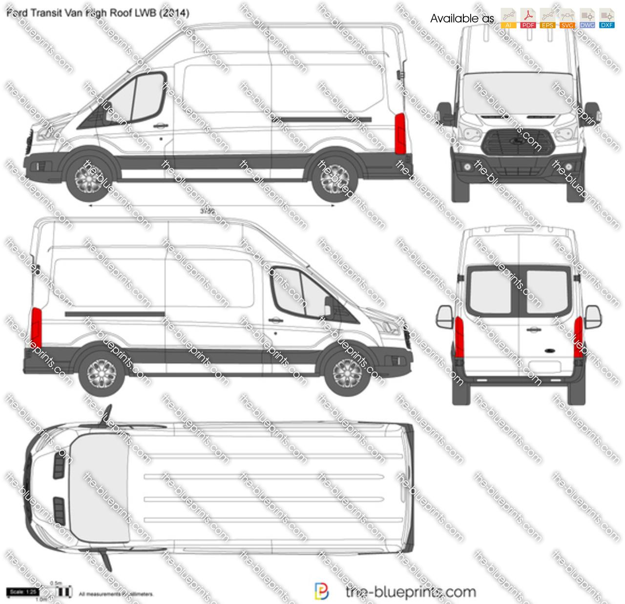 Ford Transit Van High Roof Lwb Vector Drawing