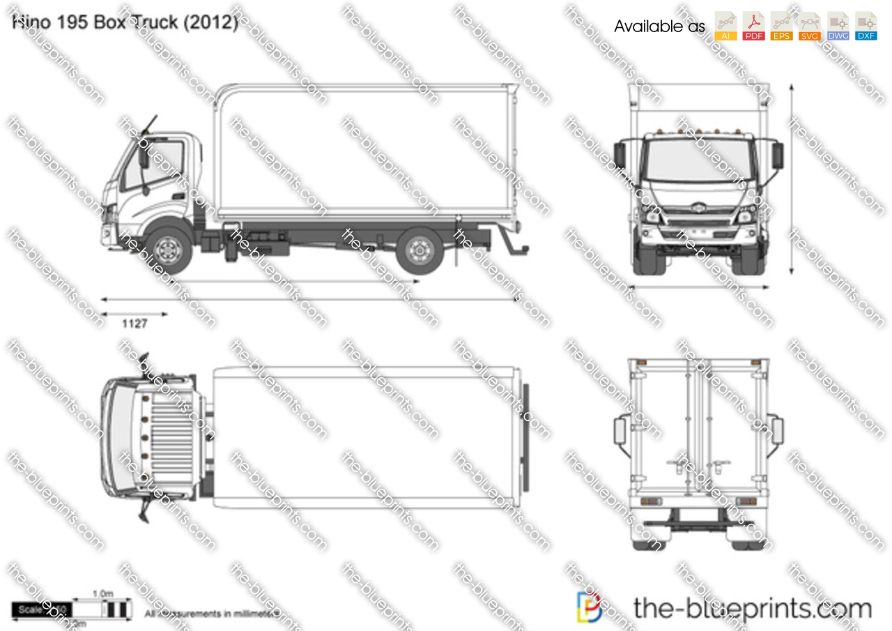 hino 195 box truck vector drawing