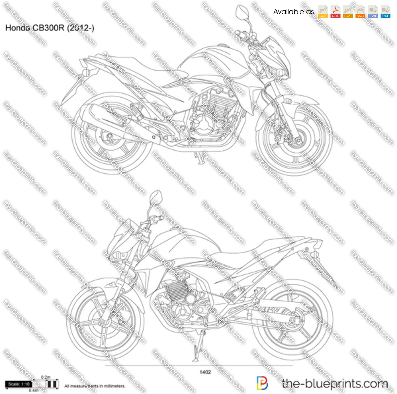 Honda Cb300r Vector Drawing