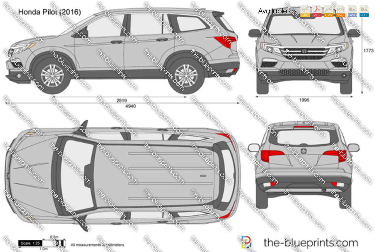 The-Blueprints.com - Vector Drawing - Honda Pilot