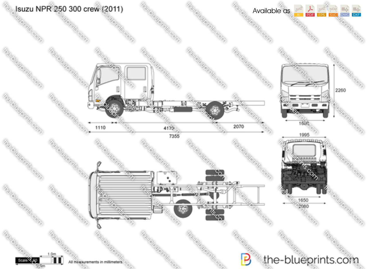 isuzu npr 250 300 crew vector drawing