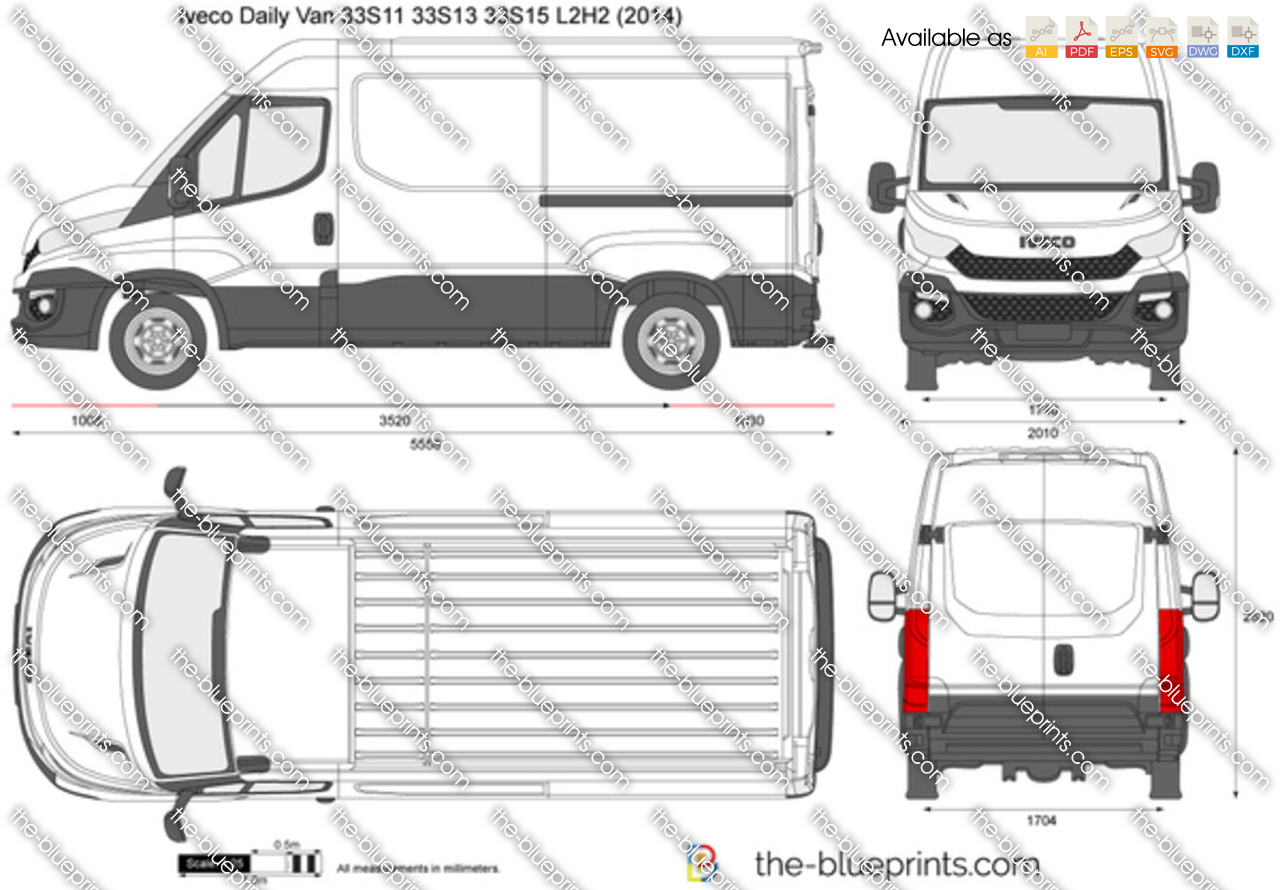 Iveco Daily Van 33S11 33S13 33S15 L2H2 vector drawing