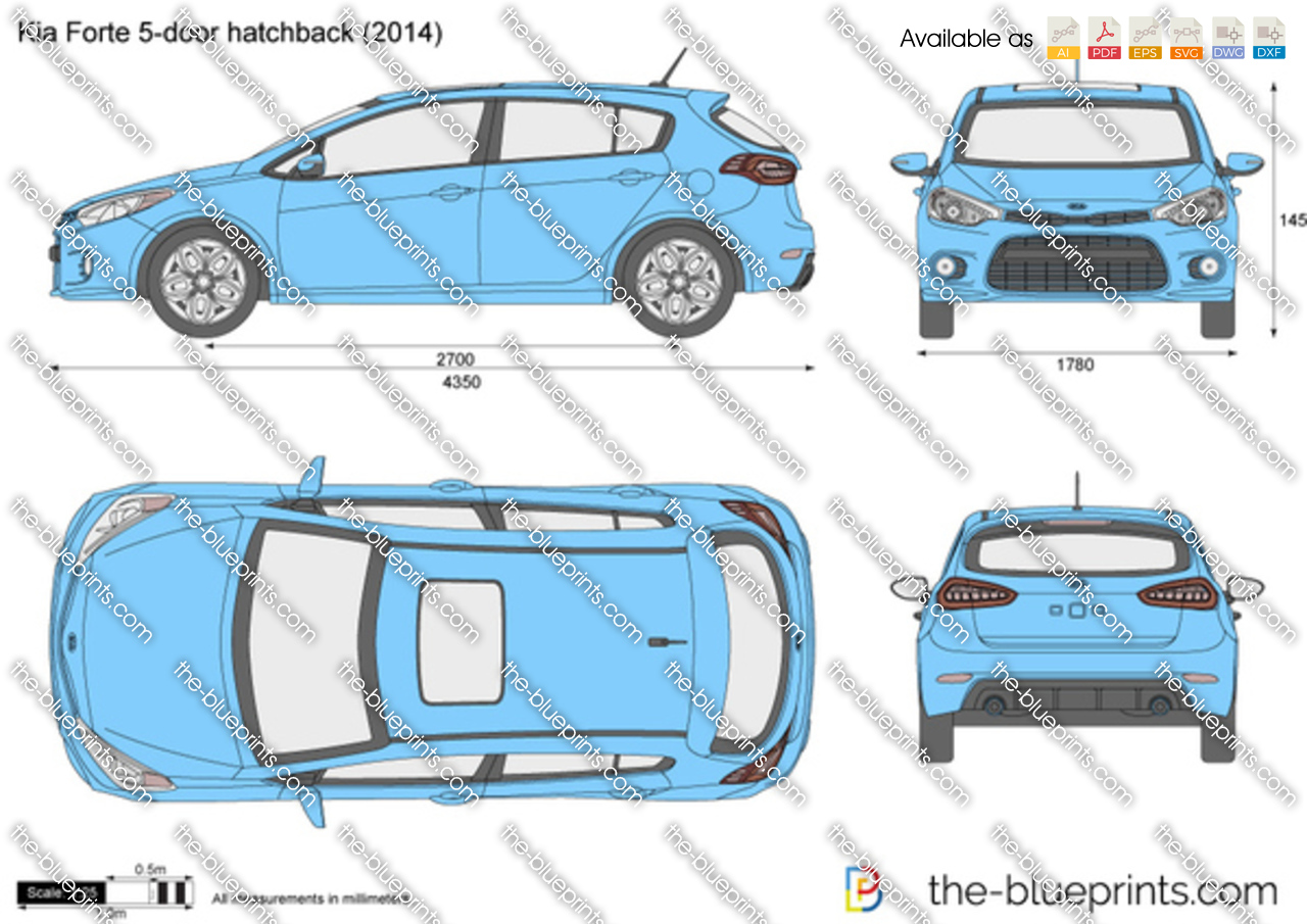 kia forte 5 door hatchback vector drawing. Black Bedroom Furniture Sets. Home Design Ideas