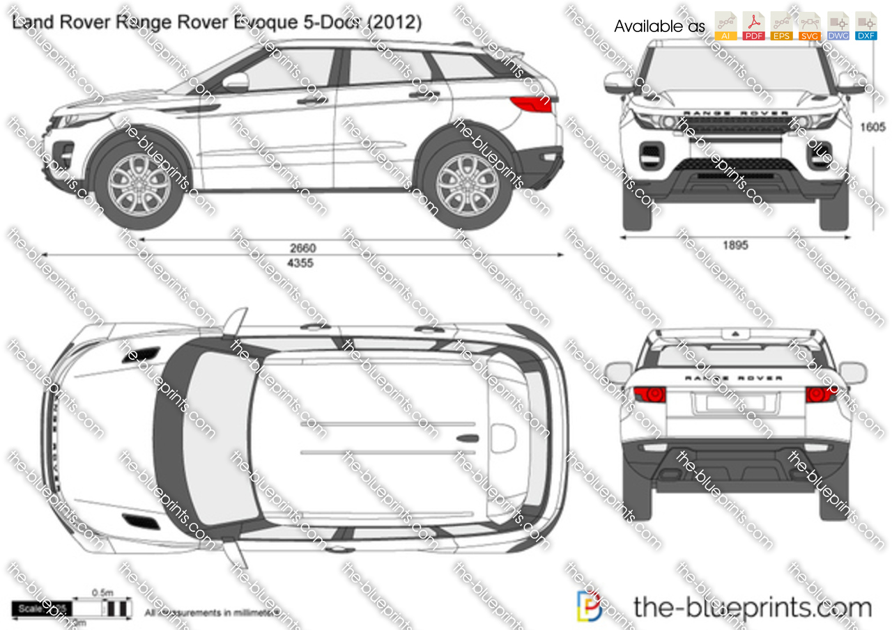 land rover range rover evoque 5 door vector drawing. Black Bedroom Furniture Sets. Home Design Ideas