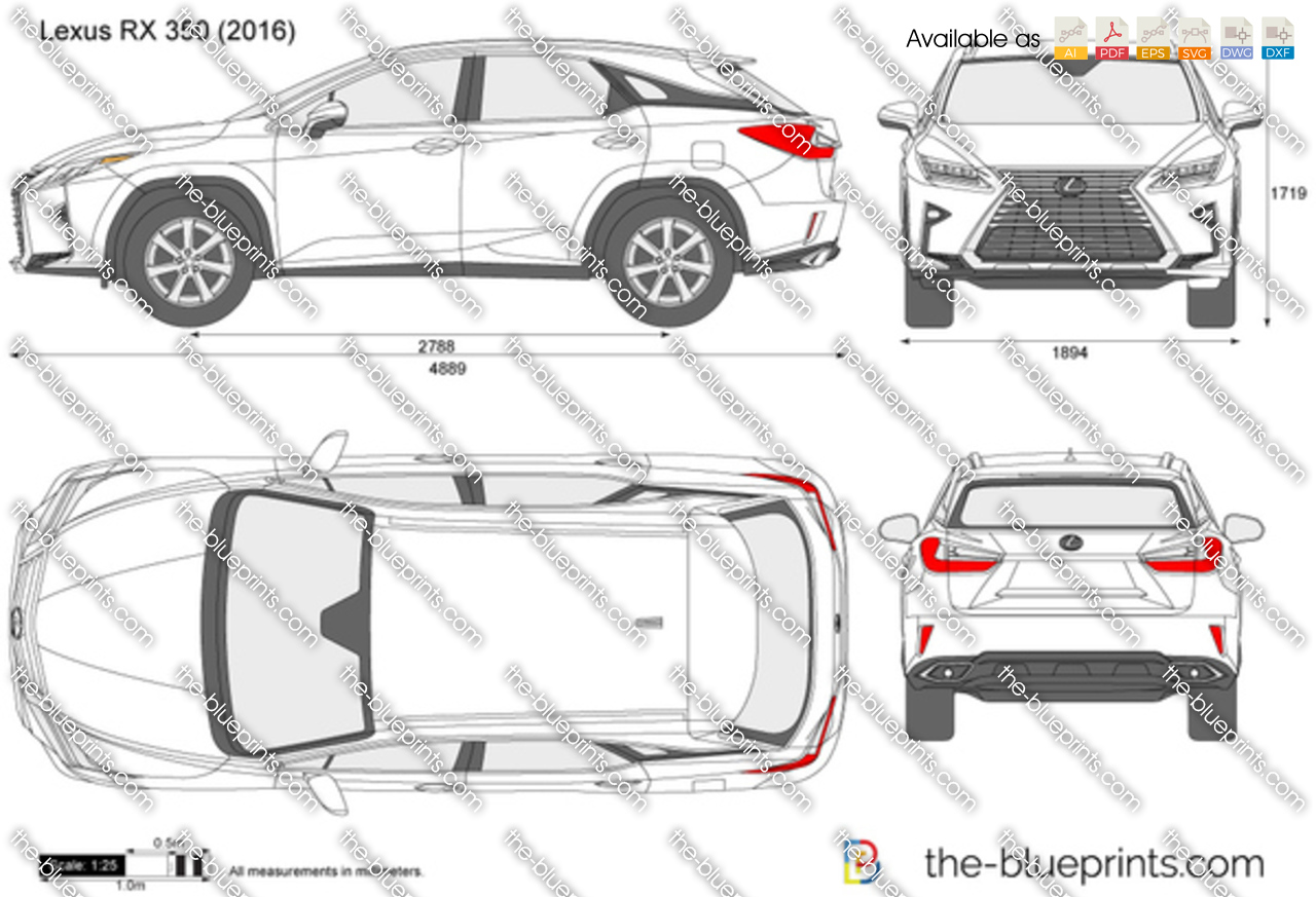 Lexus Rx 350 Vector Drawing