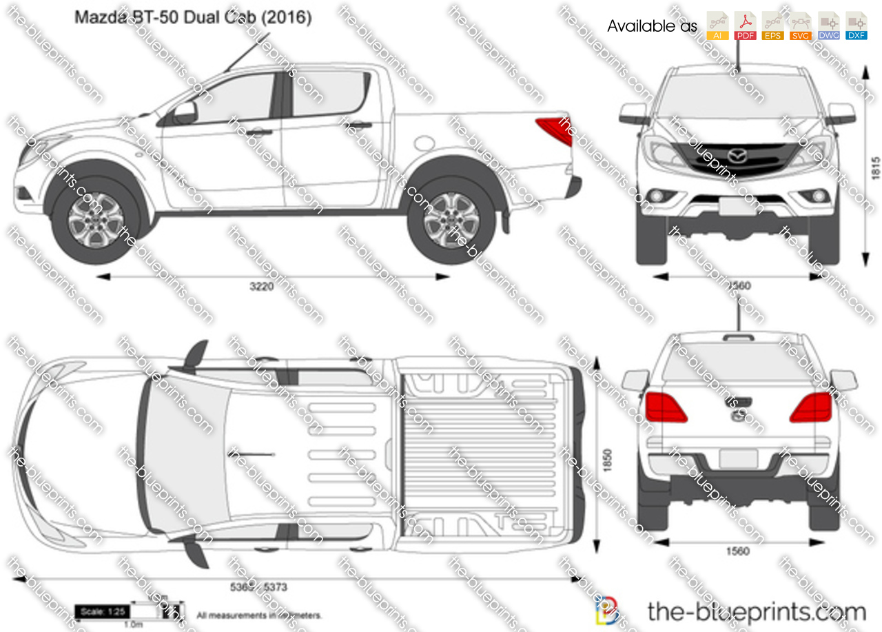 the-blueprints - vector drawing - mazda bt-50 dual cab