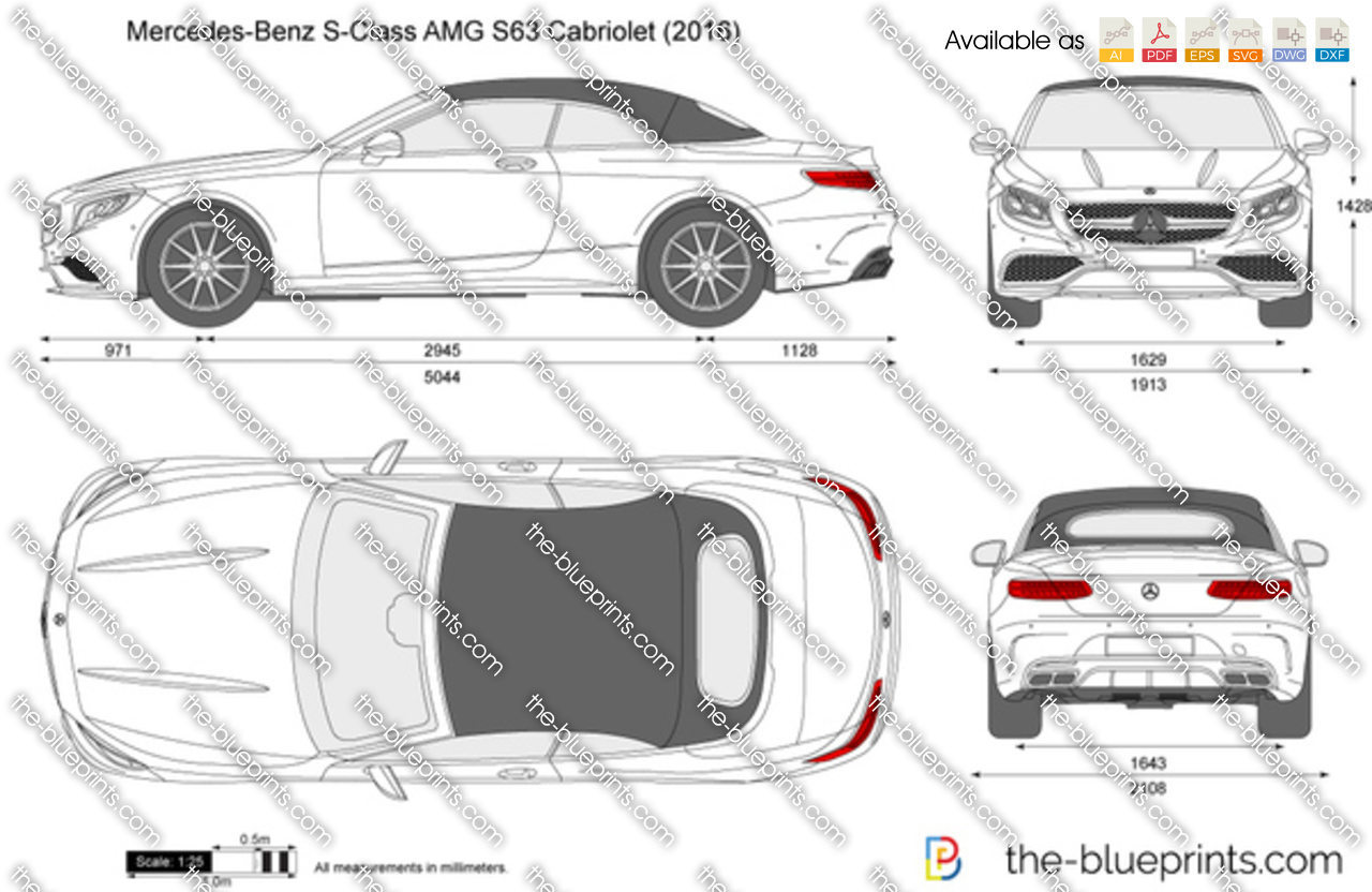 Mercedes benz s class amg s63 cabriolet vector drawing - S class coupe dimensions ...