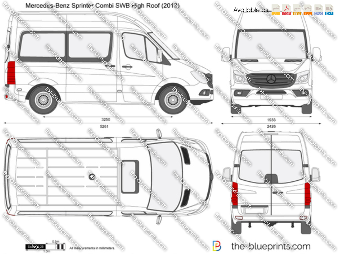 Mercedes Benz Sprinter Combi Swb High Roof Vector Drawing