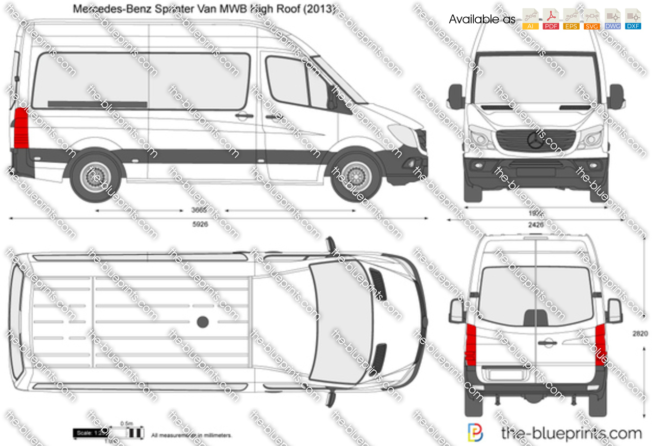 mercedes benz sprinter van mwb high roof vector drawing. Black Bedroom Furniture Sets. Home Design Ideas