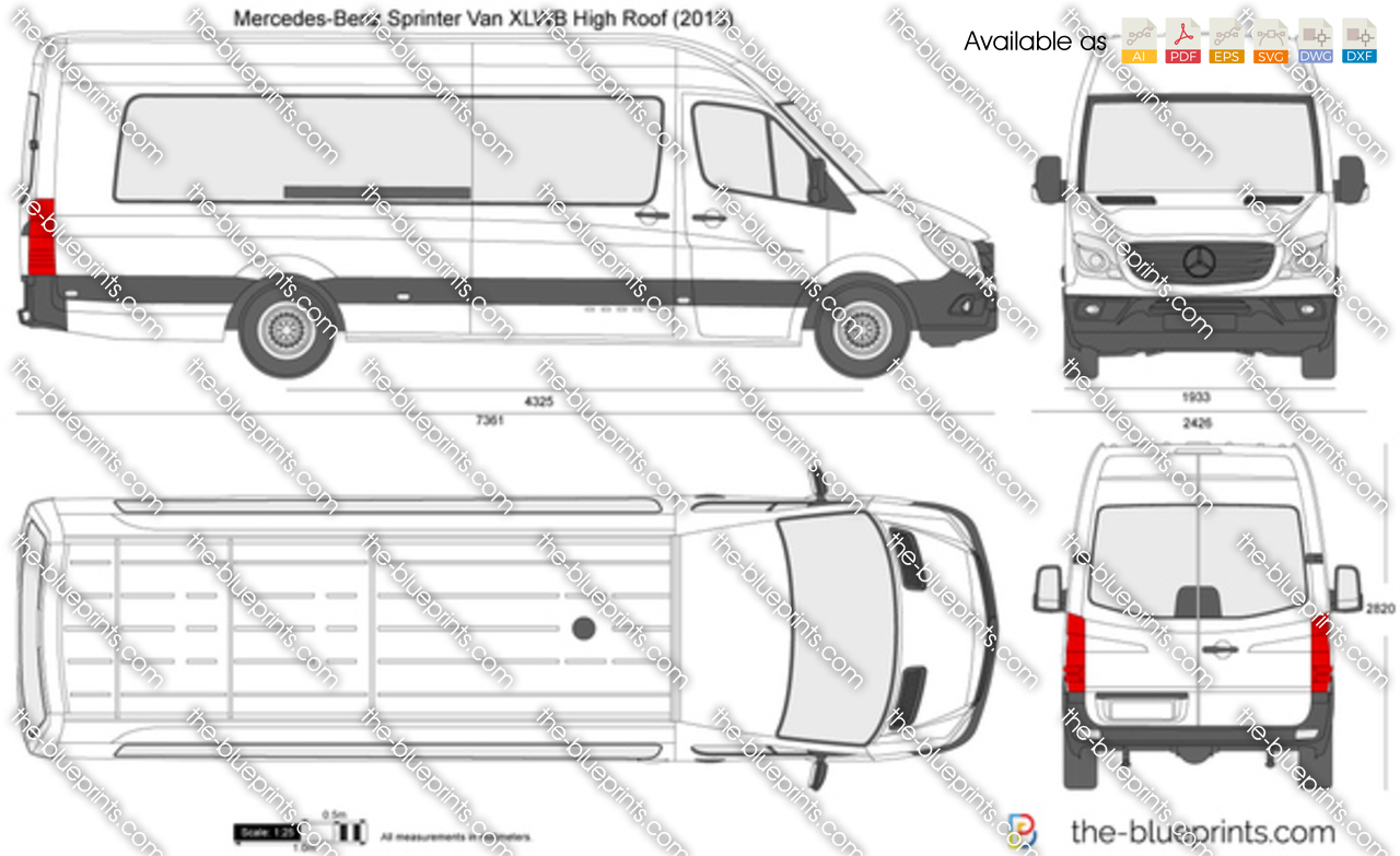 Mercedes Benz Sprinter Van Xlwb High Roof Vector Drawing