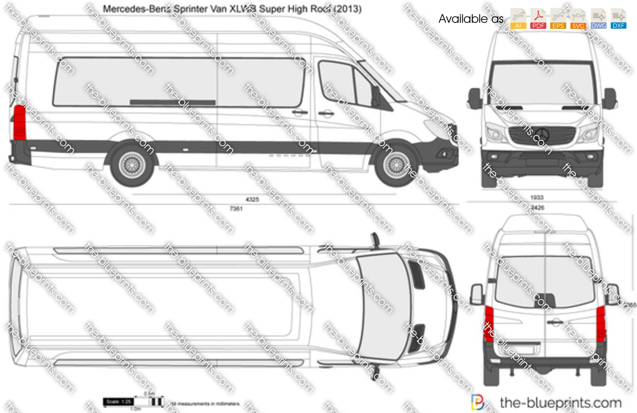 Mercedes Benz Sprinter Van Xlwb Super High Roof Vector Drawing