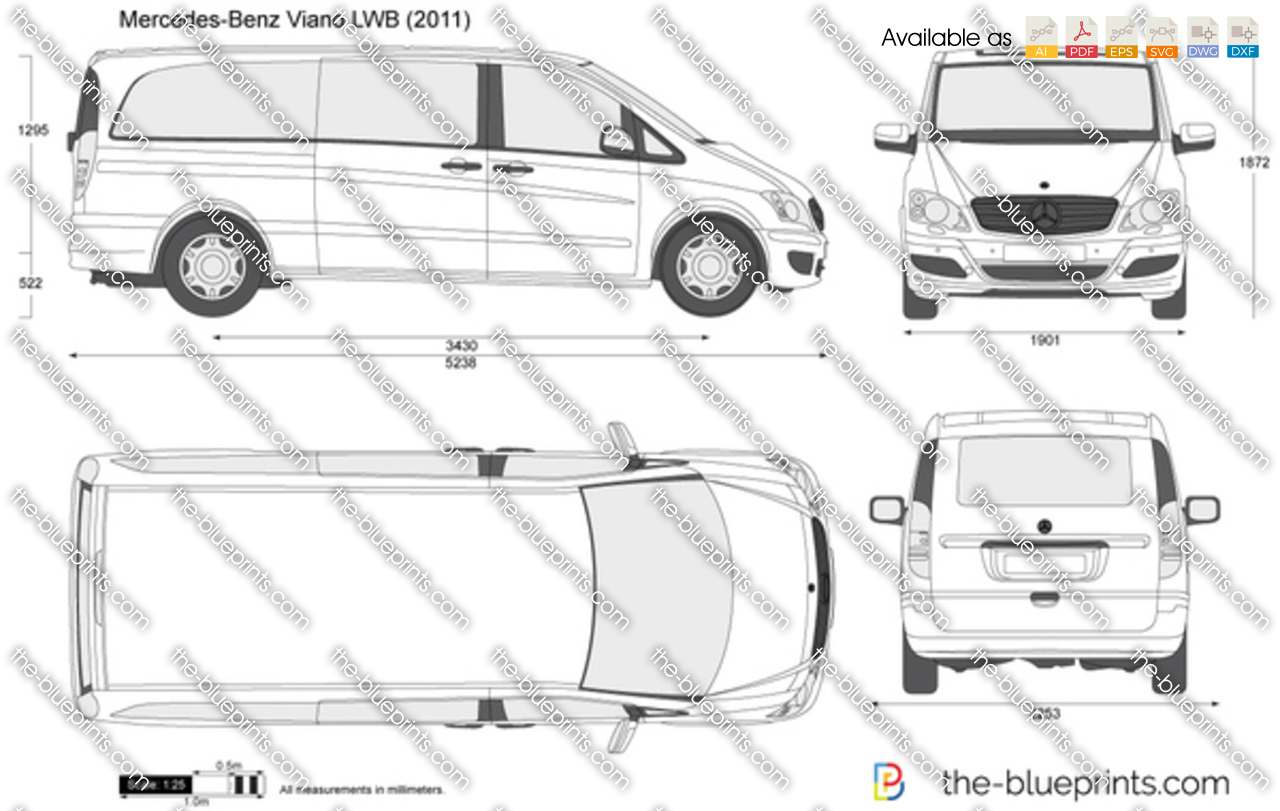 mercedes benz viano lwb vector drawing. Black Bedroom Furniture Sets. Home Design Ideas