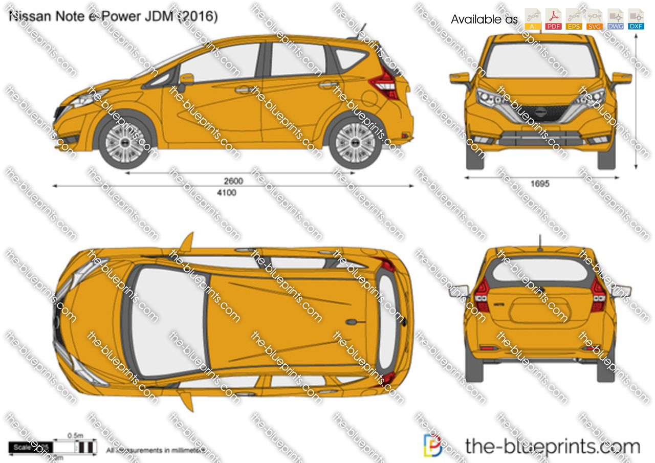 nissan note e power jdm vector drawing. Black Bedroom Furniture Sets. Home Design Ideas
