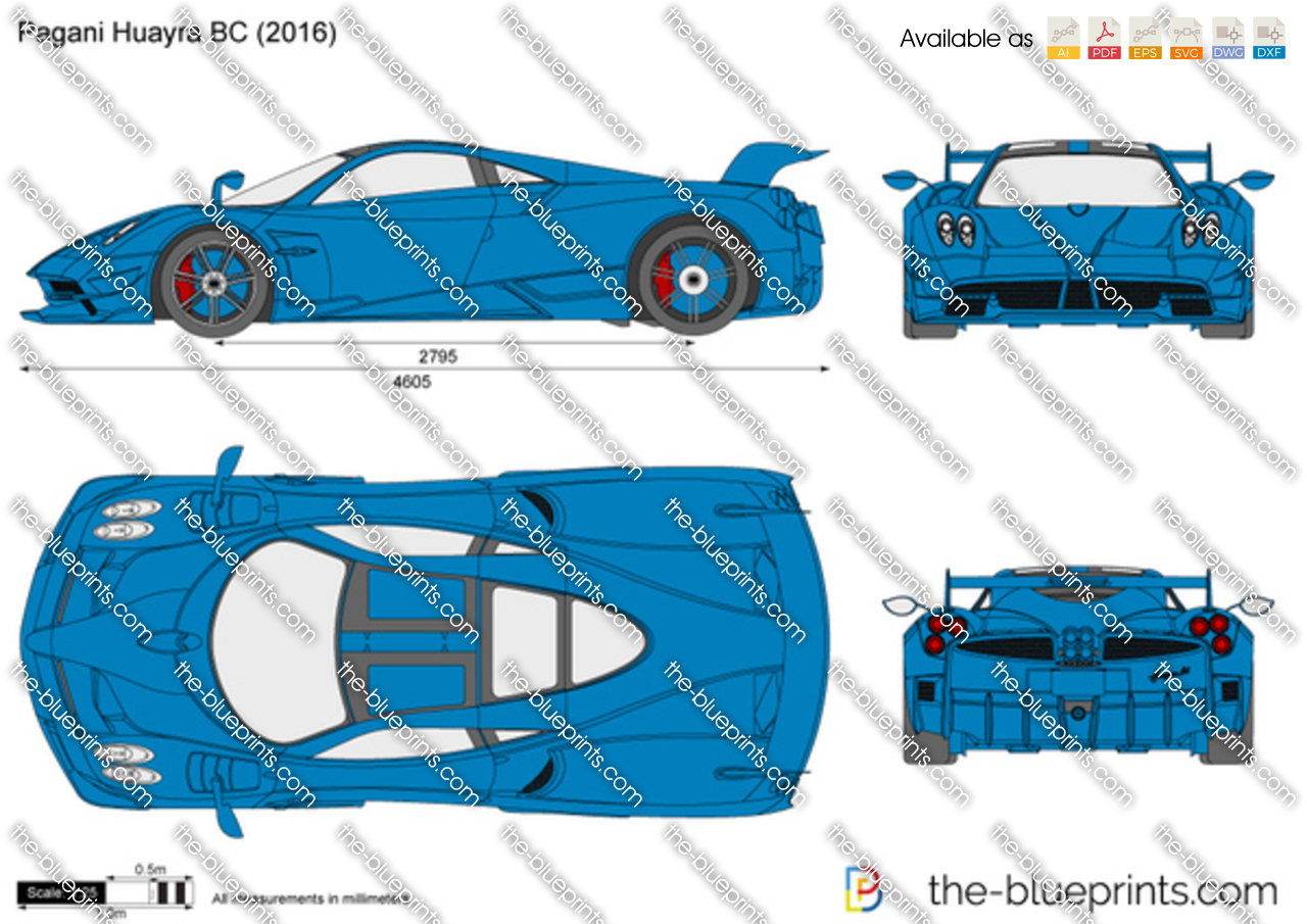 Pagani Huayra BC vector drawing
