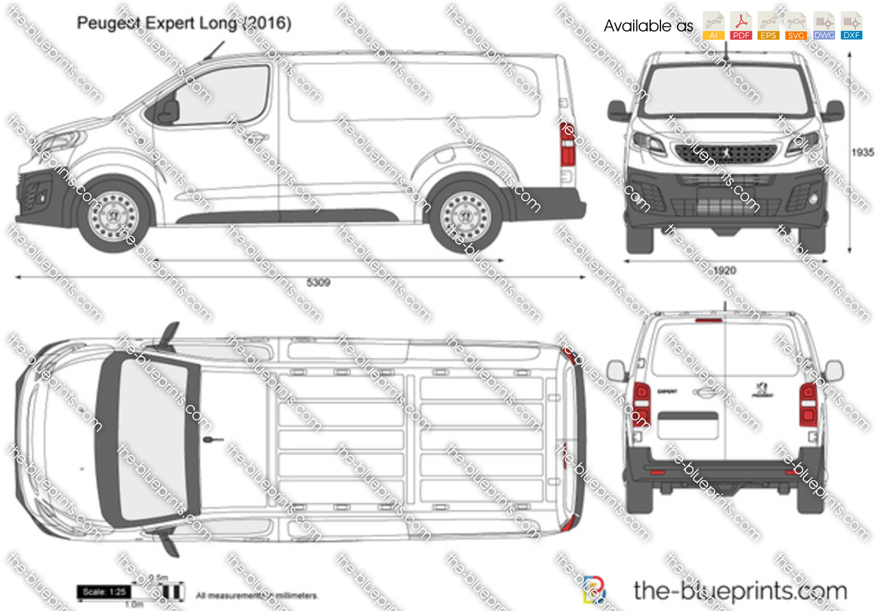 peugeot expert long vector drawing