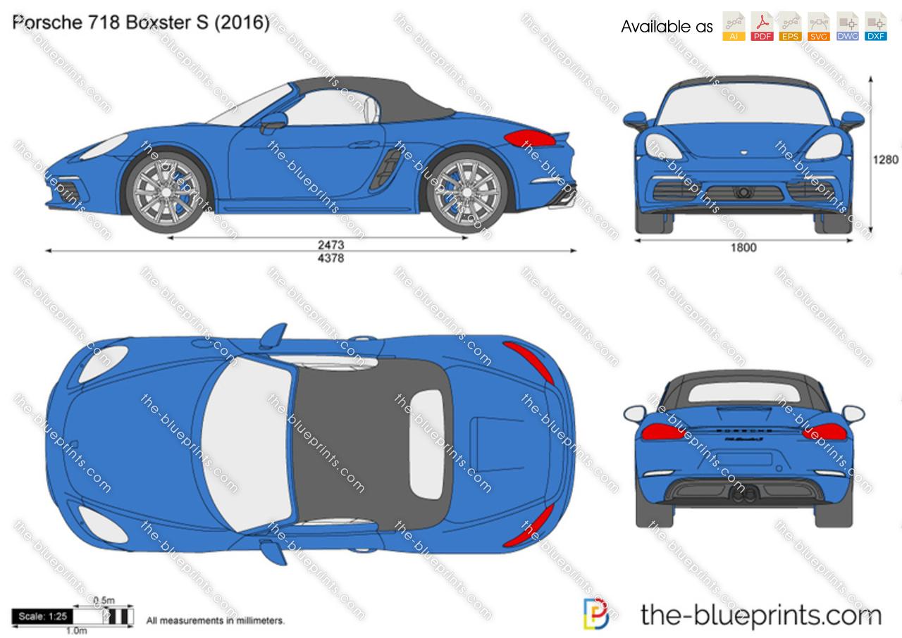 Bentley Continental Dimensions >> Porsche 718 Boxster S vector drawing