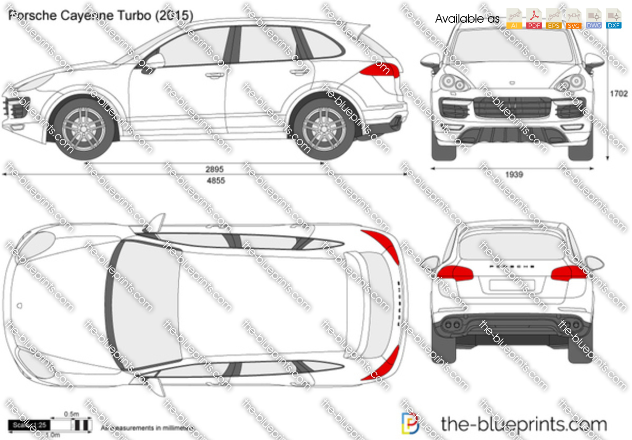 Porsche Cayenne Turbo Vector Drawing