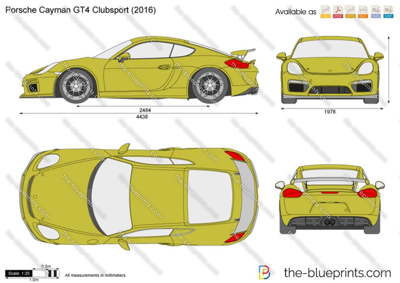 Gt4 Clubsport For Sale >> Porsche Cayman GT4 Clubsport vector drawing