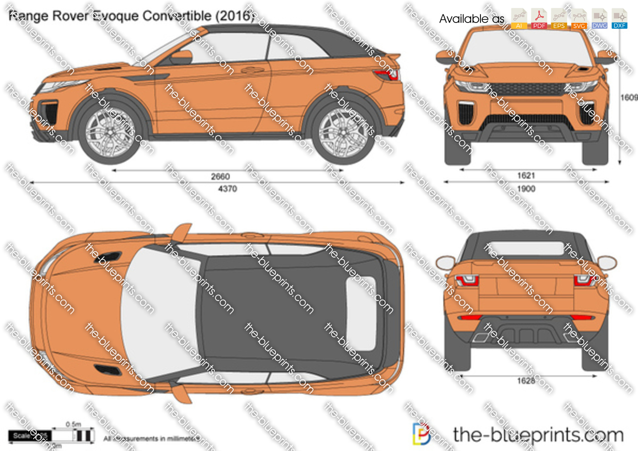 Range Rover Evoque Convertible Vector Drawing