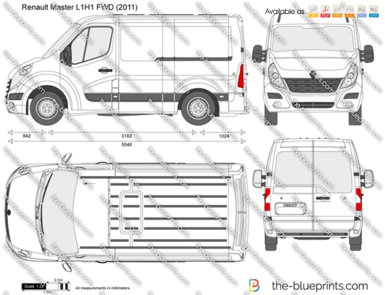 renault master l1h1 fwd vector drawing