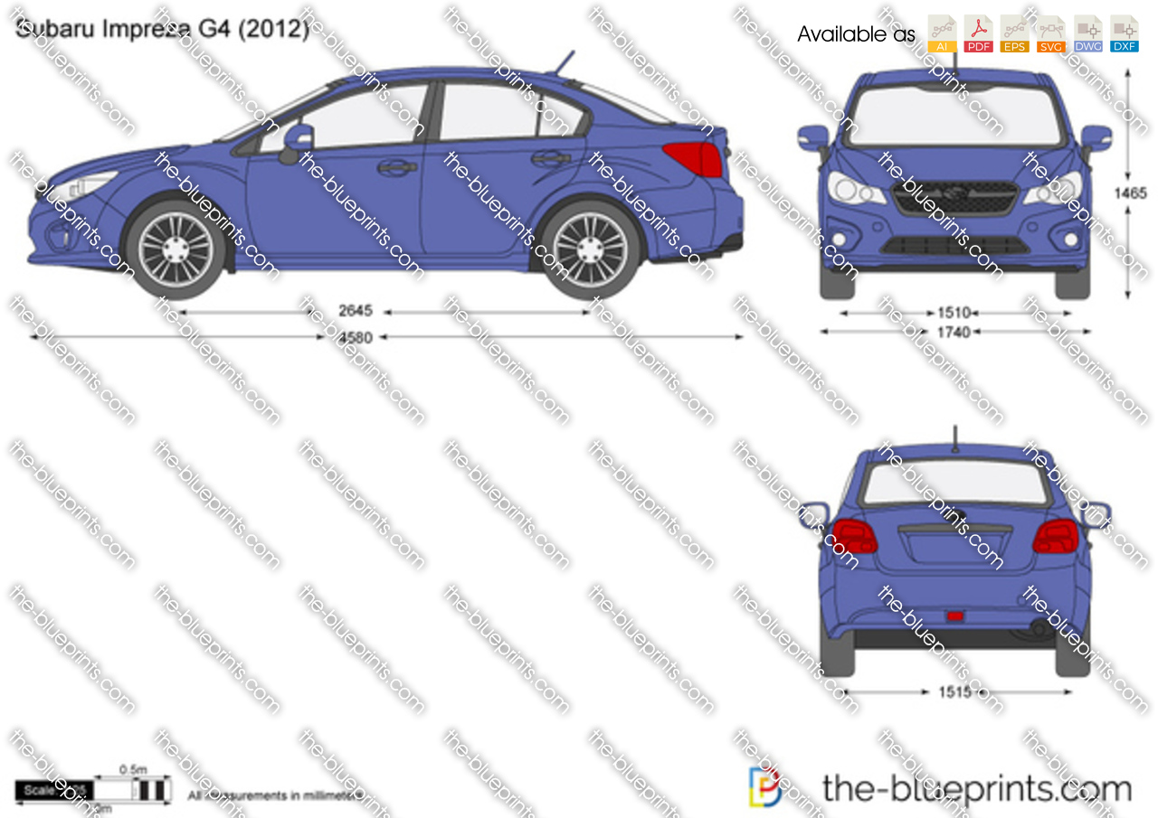 Subaru Impreza G4 Vector Drawing
