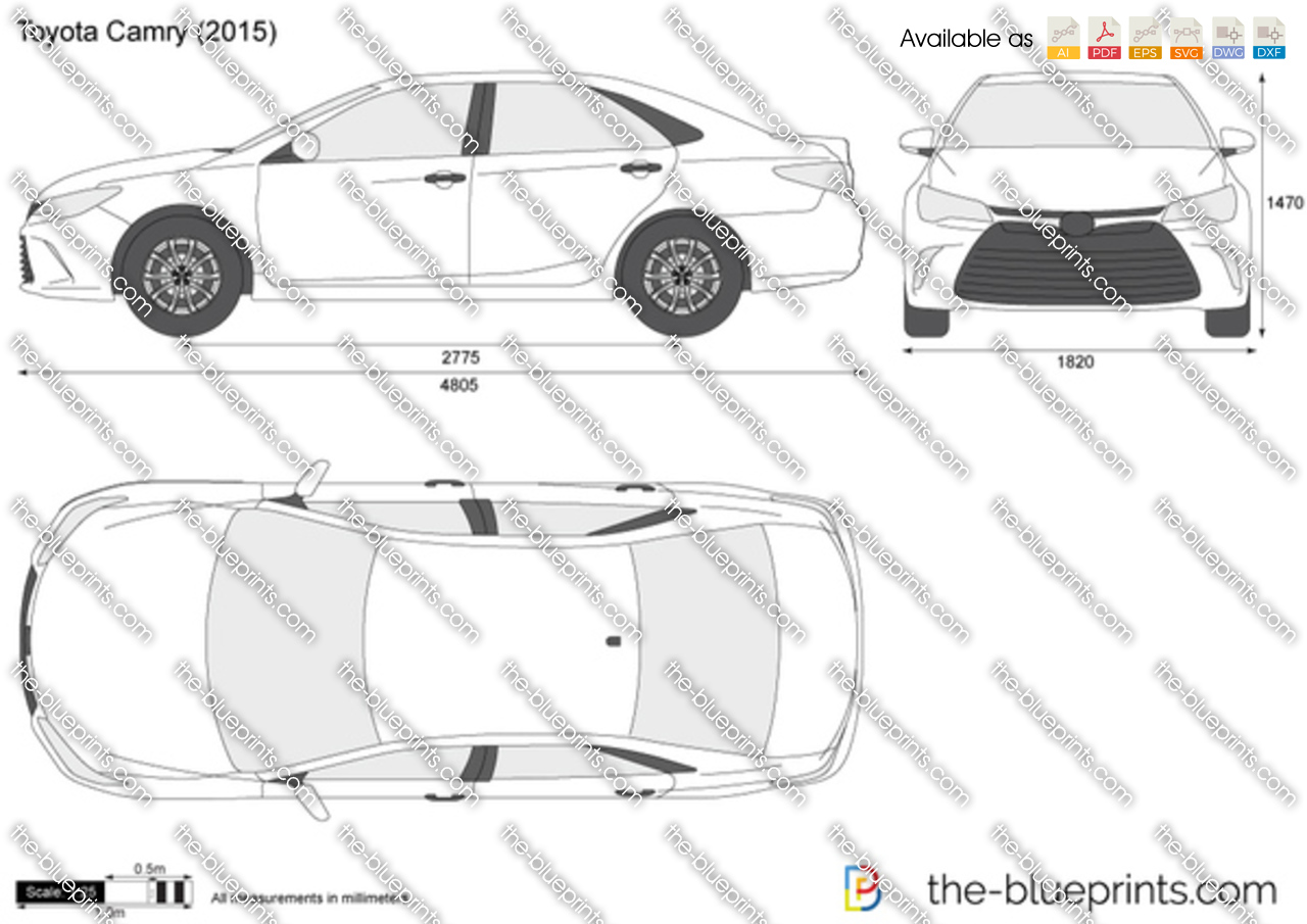 Free Hilux Blueprints: Toyota Camry Vector Drawing