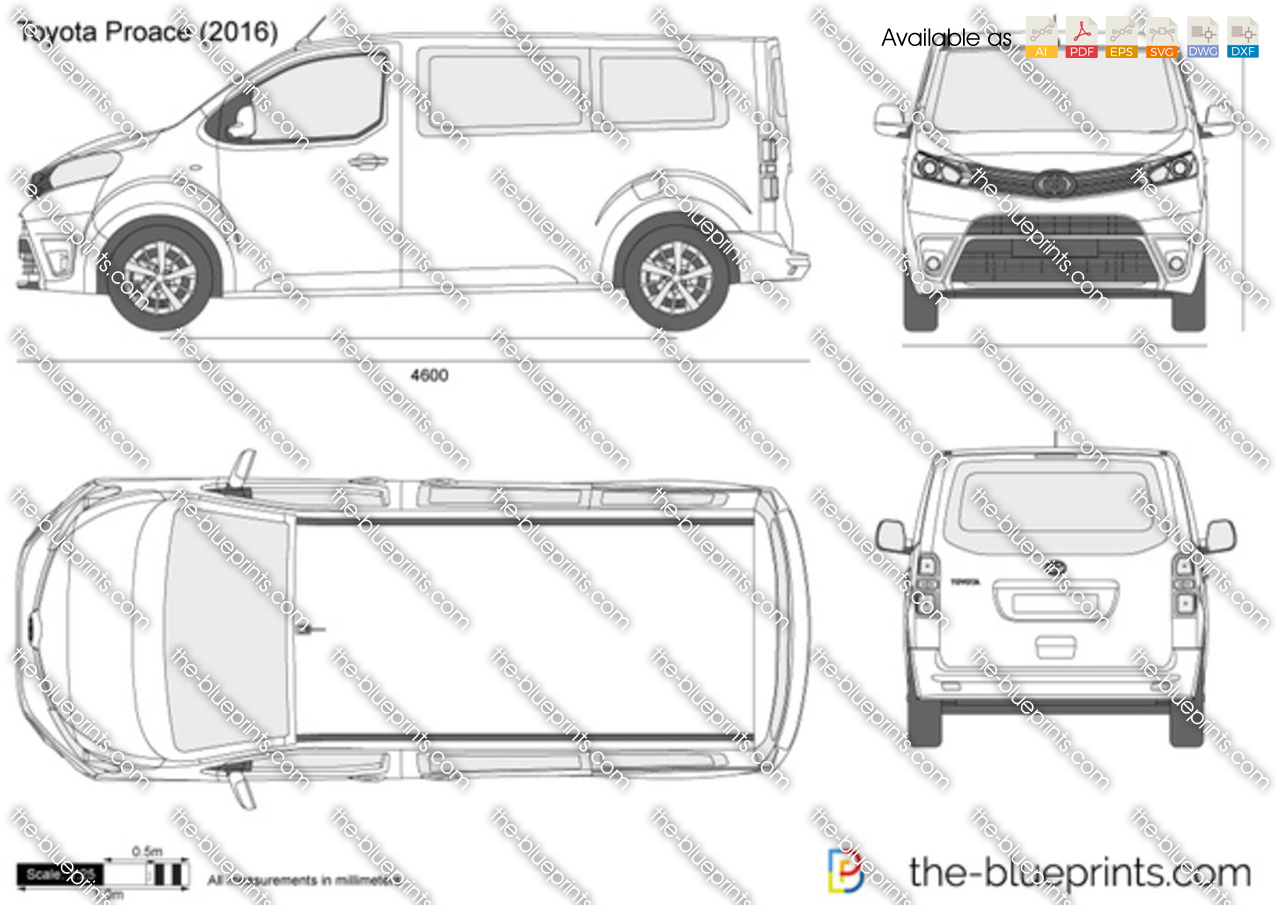 toyota proace vector drawing
