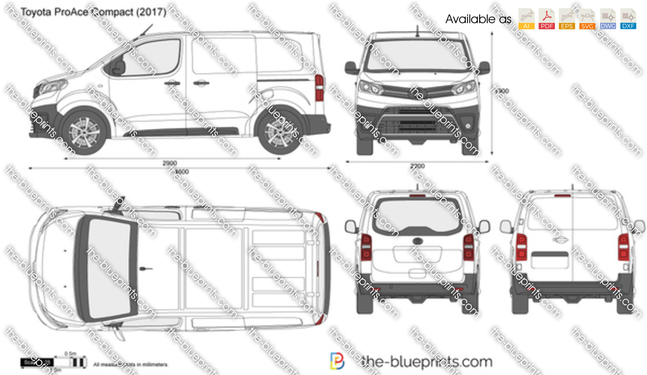 toyota proace compact vector drawing. Black Bedroom Furniture Sets. Home Design Ideas