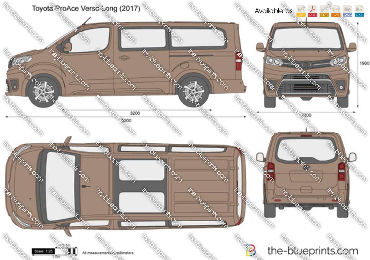 toyota proace verso long vector drawing. Black Bedroom Furniture Sets. Home Design Ideas