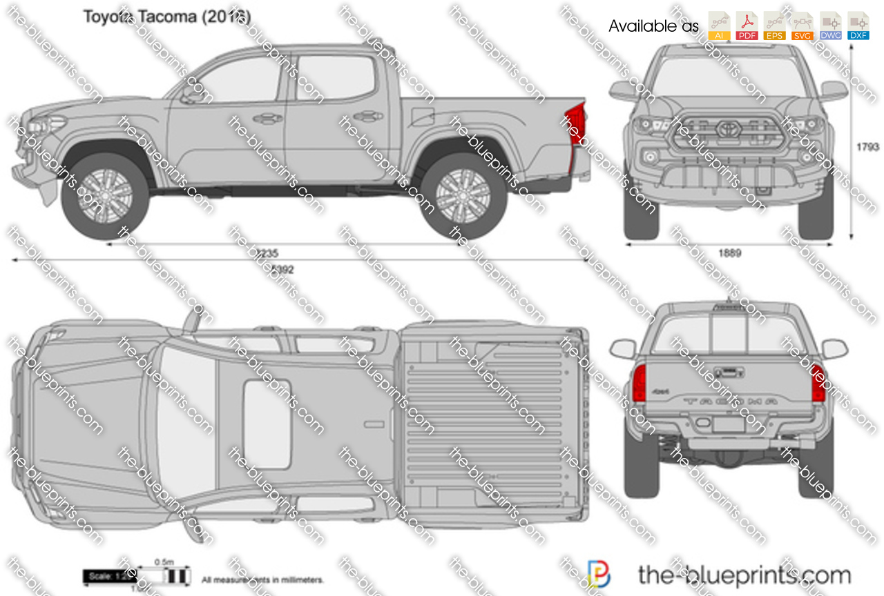 2018 Single Cab Tacoma >> Toyota Tacoma Double Cab vector drawing