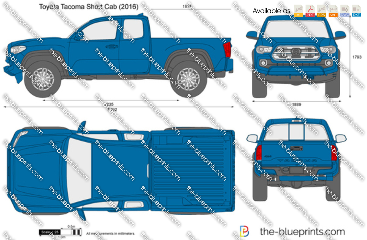 The Blueprints Com Vector Drawing Toyota Tacoma Short Cab