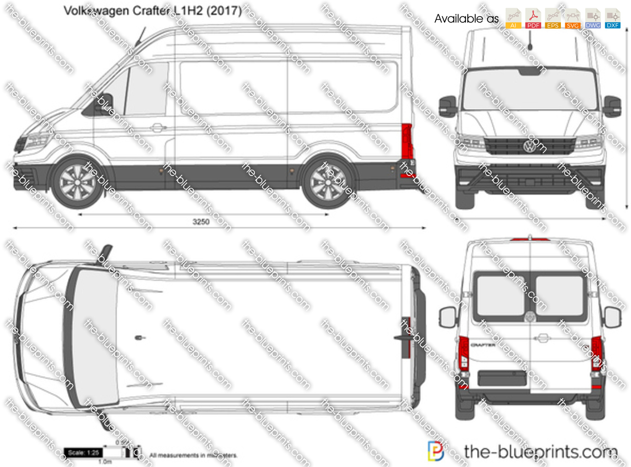 Volkswagen Crafter L1H2 vector drawing
