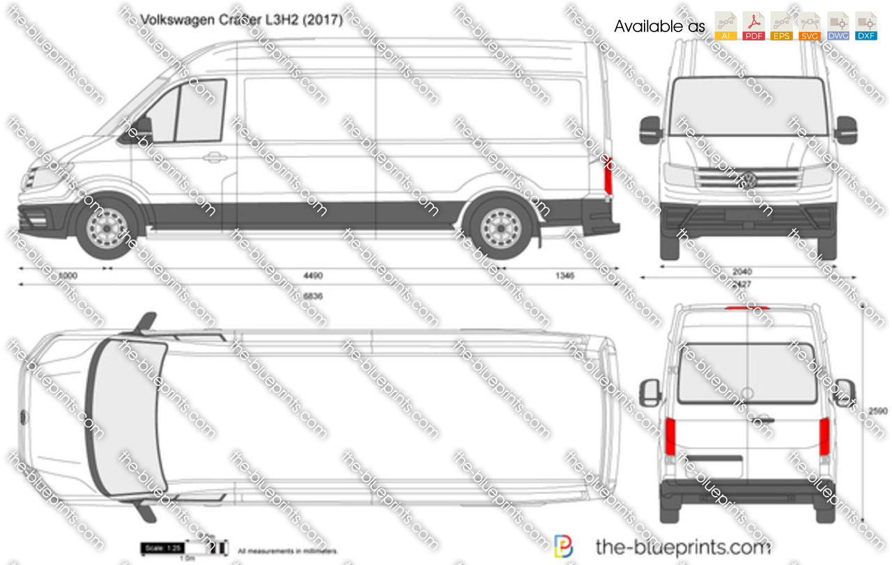 volkswagen crafter l3h2 vector drawing